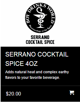 Boy Drinks World Serrano Cocktail Spice Sale